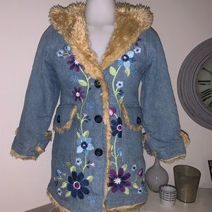 The Children's Place Hooded Jacket Floral Sz M 7/8